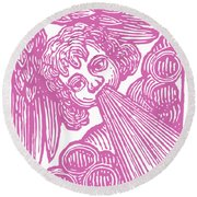 Round Beach Towel featuring the drawing Winds Tess by Edward Fielding
