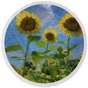 Windsor Castle Sunflowers Round Beach Towel