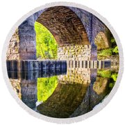 Windsor Rail Bridge Round Beach Towel by Tom Cameron