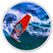 Windsurfer 1 Round Beach Towel by ABeautifulSky Photography