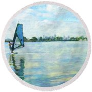 Windsurfing In The Bay Round Beach Towel by Linda Weinstock
