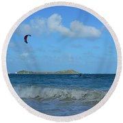Windsurfing Orient Beach In Saint Martin Round Beach Towel