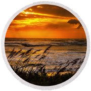 Round Beach Towel featuring the photograph Windswept  by John Harding