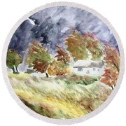 Windswept Landscape Round Beach Towel