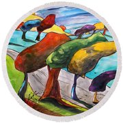 Windswept Morning Round Beach Towel