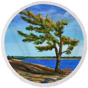 Windswept Tree Round Beach Towel