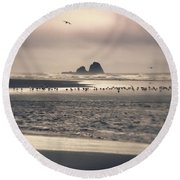 Round Beach Towel featuring the photograph Windy Balmy Day At The Beach by Tikvah's Hope