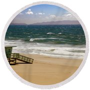Round Beach Towel featuring the photograph Windy Beach Day by Joseph Hollingsworth