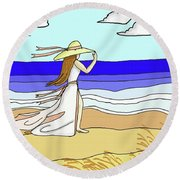 Windy Day At The Beach Round Beach Towel