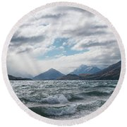Round Beach Towel featuring the photograph Windy Day On Lake Wakatipu by Gary Eason