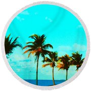 Windy Day On N Roosevelt Bld Key West Round Beach Towel