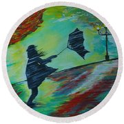 Round Beach Towel featuring the painting Windy Escapade by Leslie Allen