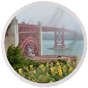 Windy Foggy Golden Gate Bridge  Round Beach Towel