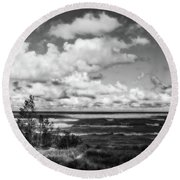 Round Beach Towel featuring the photograph Windy Morning On Lake Michigan by Michelle Calkins