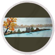 Round Beach Towel featuring the painting Windy Point Duck Blind by Jack G Brauer
