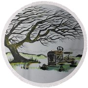 Round Beach Towel featuring the painting Windy Ridge by Jack G Brauer