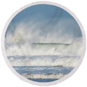 Round Beach Towel featuring the photograph Windy Seas In Cornwall by Nicholas Burningham