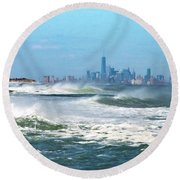 Windy View Of Nyc From Sandy Hook Nj Round Beach Towel by Gary Slawsky