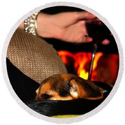 Wine And A Fire And A Dog Round Beach Towel