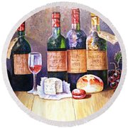 Wine And Cheese Round Beach Towel
