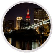 Wine And Gold In Cleveland Round Beach Towel