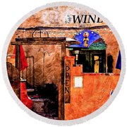 Round Beach Towel featuring the photograph Wine Bar Of The Southwest by Barbara Chichester