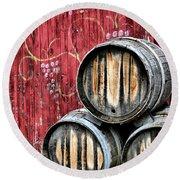 Wine Barrels Round Beach Towel