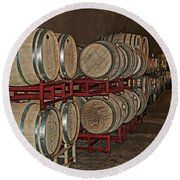 Wine Barrels Lining The Cave Round Beach Towel