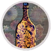 Round Beach Towel featuring the digital art Wine Bottle And Floral Wall by Iowan Stone-Flowers