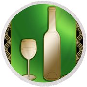 Wine Bottle And Glass Round Beach Towel