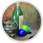 Wine Bottle,brass And Lemons Round Beach Towel