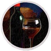 Wine Cellar 01 Round Beach Towel by Wally Hampton