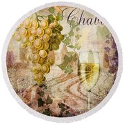 Wine Country Chablis Round Beach Towel