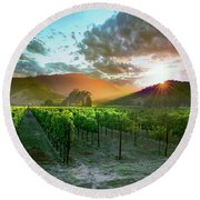 Wine Country Round Beach Towel