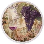 Wine Country Loire Round Beach Towel