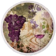 Wine Country Medoc Round Beach Towel
