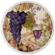 Wine Country Provence Round Beach Towel