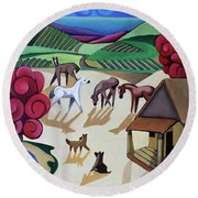 Wine Farm Round Beach Towel