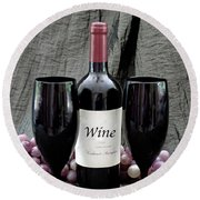 Wine For You And I Round Beach Towel