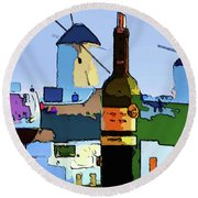 Wine In Mykonos Round Beach Towel