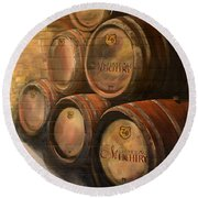 Wine In The Barrels - Chateau Meichtry Round Beach Towel by Jan Dappen