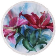 Wine Lillies In Pastel Watercolour Round Beach Towel