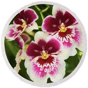 Wine Orchids- The Risen Lord Round Beach Towel by Penny Lisowski