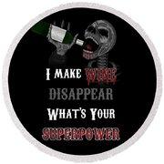 Wine Superpower Skeleton Fantasy Art Round Beach Towel