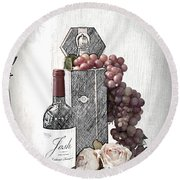 Round Beach Towel featuring the photograph Wine Tasting Evening by Sherry Hallemeier