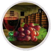 Round Beach Towel featuring the photograph Wine Tasting by Hanny Heim