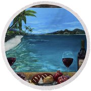 Wine Thirty - Oceanside Round Beach Towel by Jan Dappen