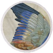 Wing Of A Blue Roller Round Beach Towel