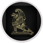 Round Beach Towel featuring the digital art Winged Chimera From Theater De Bellecour, Lyon, France, In Gold On Black by Serge Averbukh