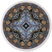 Winged Creatures In A Star Kaleidoscope #1 Round Beach Towel